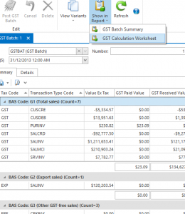 Screenshot of GST batch in Readysell