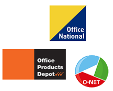 Office National, Office Products Depot and O-NET logos