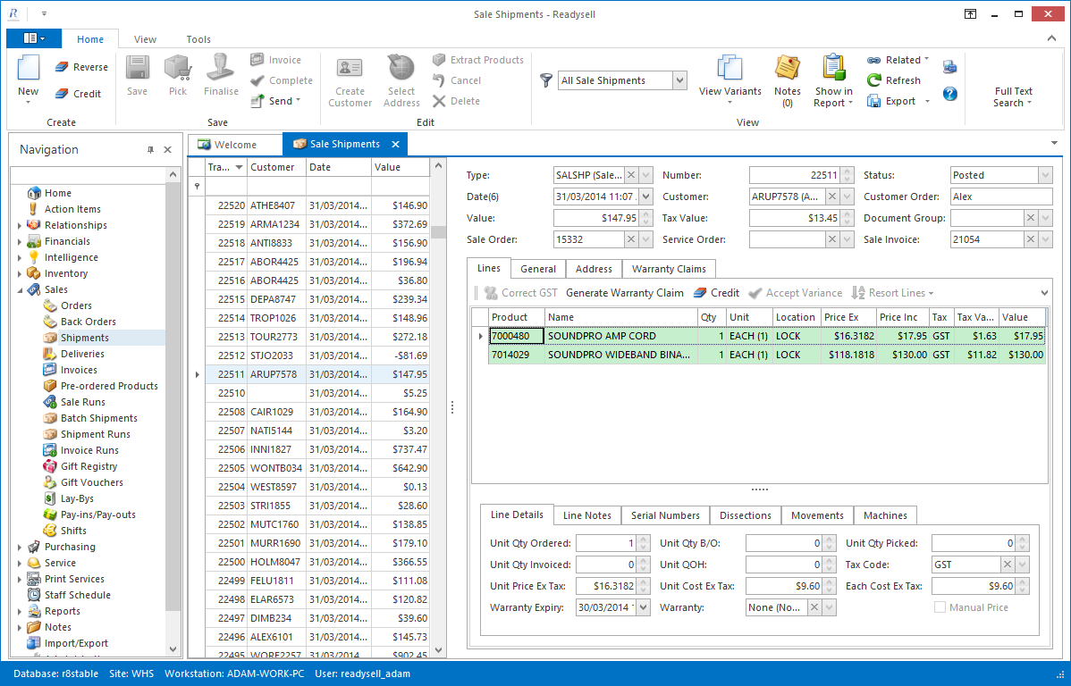 Screenshot of the Readysell user interface