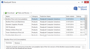 Screenshot of the Readysell Store showing import/export definitions