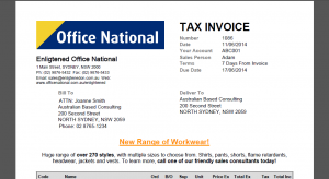 Invoice layout with custom header text