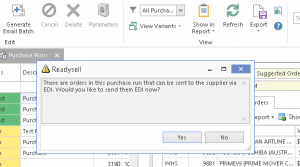 Readysell 8.28: Improve your suppiler EDI compliance when processing purchase runs