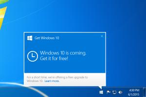 Windows 10 upgrade notification balloon