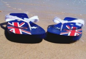 Australian flag thongs on the beach