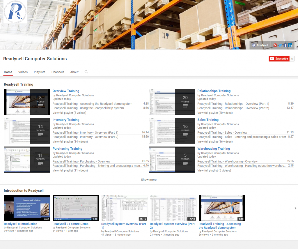 Screenshot of Readysell training video library on YouTube