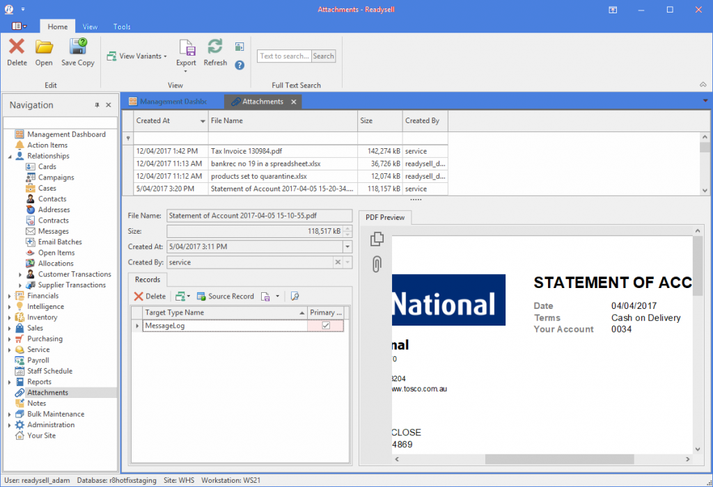 Screenshot of document management with previewer