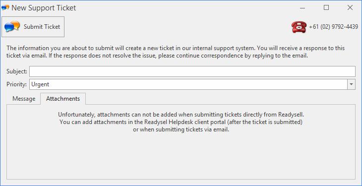 New Support Ticket screenshot