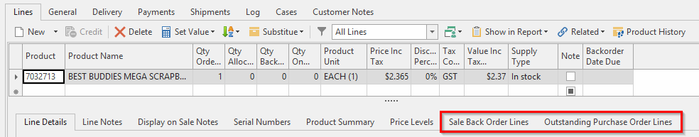 Screenshot of back order line tabs in Readysell