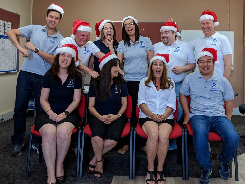 Readysell staff in Christmas hats