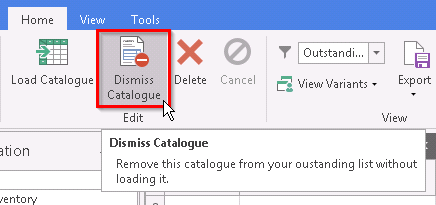 Screenshot of Dismiss Catalogue button