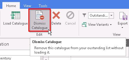 Screenshot of Dismiss Catalogue button