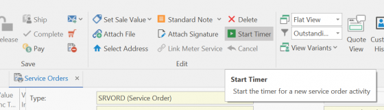 Screenshot of service order screen
